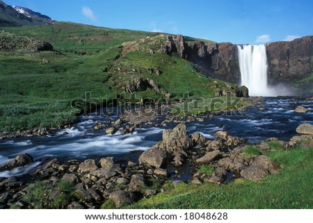 Waterfalls view on Iceland in sunny summer day