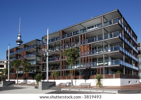 Waterfront aparments in Auckland, New Zealand - stock photo