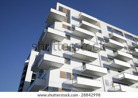 Waterfront apartment building Odense Denmark. - stock photo