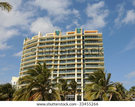 Waterfront apartments in tropical Florida - stock photo