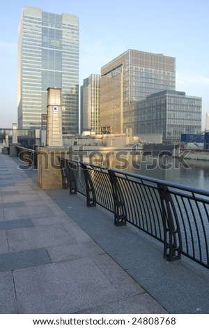 Waterfront at Canary Wharf in London, England - stock photo