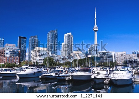 Waterfront at Toronto with Canada Tower as background - stock photo