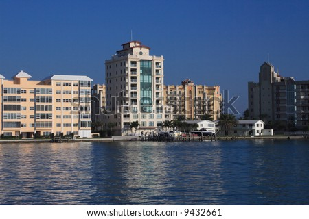 Waterfront buildings and condos on the bay in south west Florida - stock photo