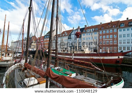 Waterfront Copenhagen. Tourist place of the old city. - stock photo