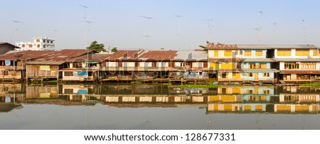 Waterfront home at Tachin River,Thailand - stock photo