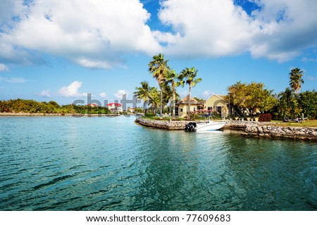 Waterfront homes on Grand Cayman - stock photo