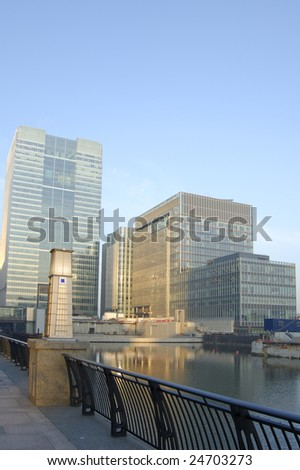 Waterfront office buildings at Canary Wharf in London, England - stock photo