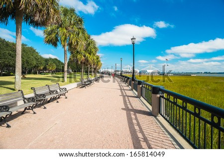 Waterfront park in downtown Charleston, South Carolina. - stock photo