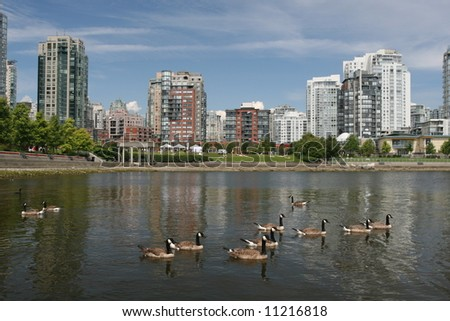 Waterfront Park in Urban Environment - stock photo