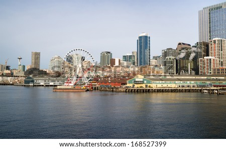 Waterfront Piers Dock Buildings Needle Ferris Wheel Seattle Elliott Bay