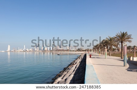 Waterfront promenade in Kuwait City, Middle East - stock photo