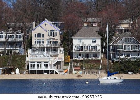Waterfront property on long Islands North shore - stock photo