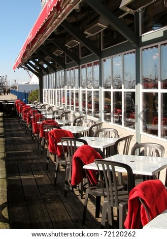 Waterfront restaurant patio in Richmond, Canada - stock photo