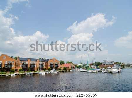 waterfront scenes in little washington north carolina - stock photo