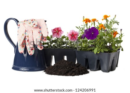 Watering can and gardening gloves placed beside two flower boxes and bunch of soil for gardening concept