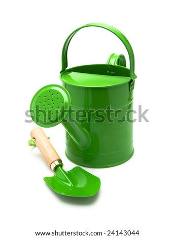 watering can and trowel