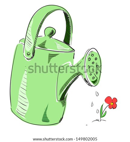 Watering can cartoon icon - stock photo
