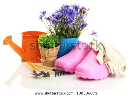 watering can, galoshes, tools and plants in flowerpot isolated on white - stock photo