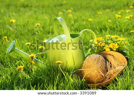 Watering can in the grass with old straw hat - stock photo