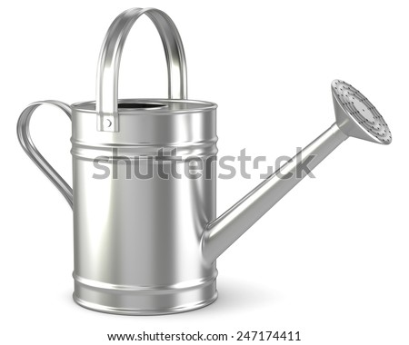 Watering can isolated white background - stock photo