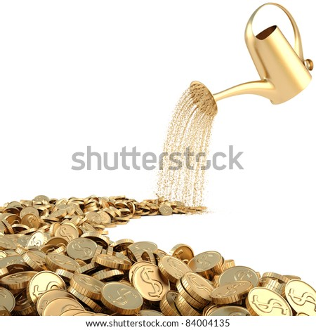 watering can pouring molten gold the road of gold coins. isolated on white. - stock photo