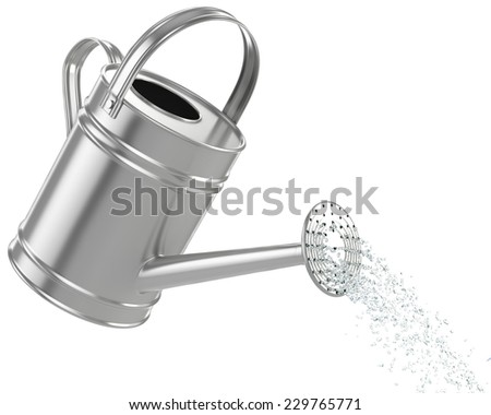 watering can pouring water - stock photo