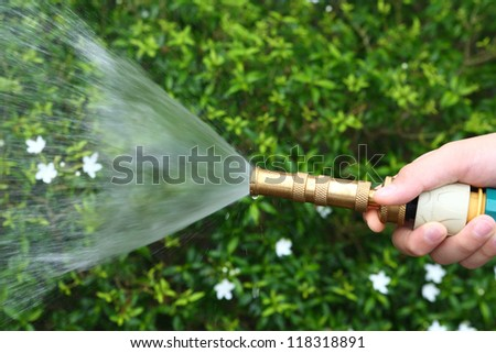Watering flower by Brass Adjustable Nozzle - stock photo