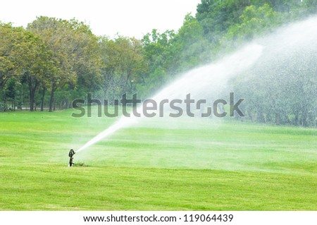 Watering in golf course golf golf garden golf landscape sprinkler outdoor green landscape