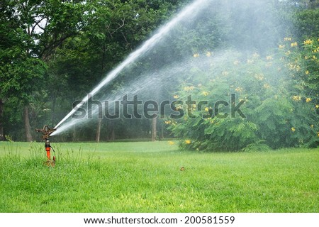 Watering in golf courseWatering turf