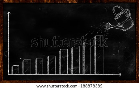 Watering Investment Sketch on Blackboard - stock photo