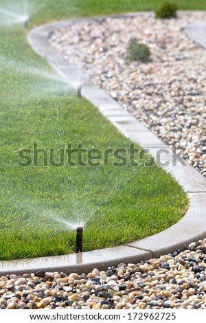 watering lawn with sprinklers - stock photo