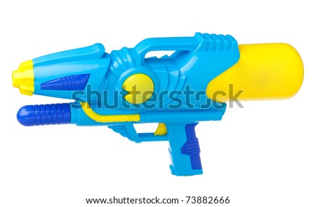 Watering toy spray gun for playing and watering to each other isolated on white