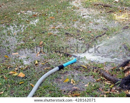 watering trees and grass from hose, the gardens are lush and fresh all the time - stock photo
