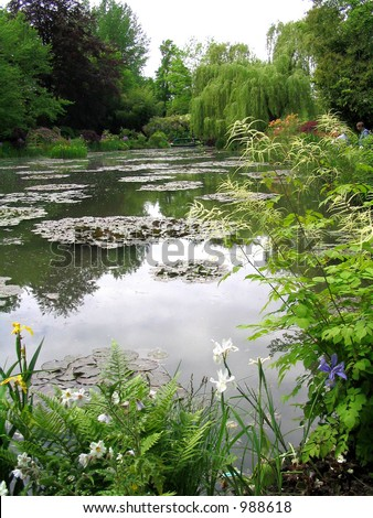 Waterlily Pond at Monet's Garden - stock photo