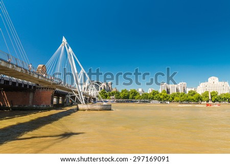Waterloo Bridge in London. - stock photo