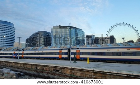 Waterloo Station.  End of the platform 2 with a view of the London Eye.  19th January 2016 - stock photo