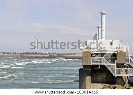watermanagement. storm barrier Neeltje Jans - stock photo