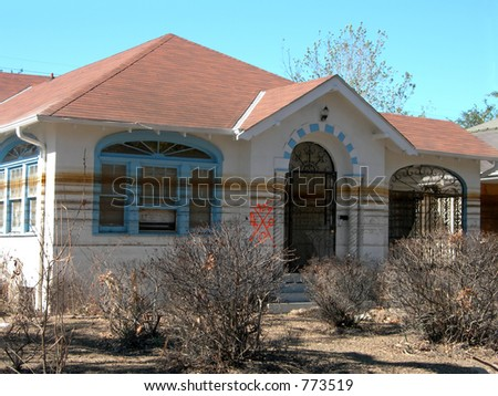 Watermark left on New Orleans home by Katrina floods - stock photo
