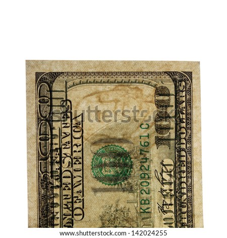 Watermark on a genuine one hundred dollars banknotes - stock photo