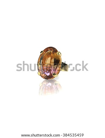 Watermelon Ametrine large gemstone cobochon ring isolated on white - stock photo