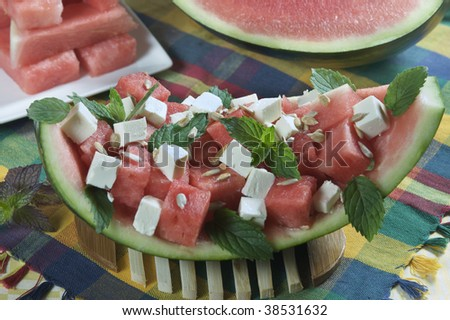 watermelon and feta cheese salad - stock photo