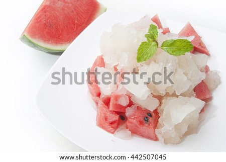 Watermelon and Ice Cubes with Mint