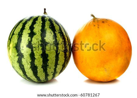 watermelon and melon isolated on white background - stock photo