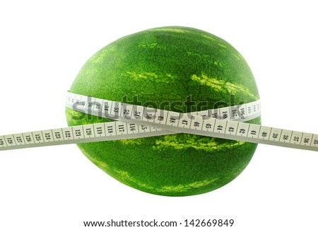 watermelon and meter on white background
