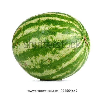 Watermelon and water drops on white background. File contains a path to isolation.  - stock photo