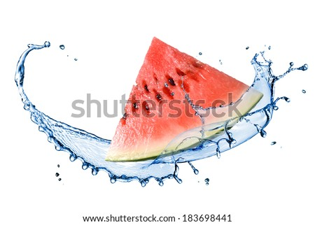 watermelon and water splash isolated on white - stock photo