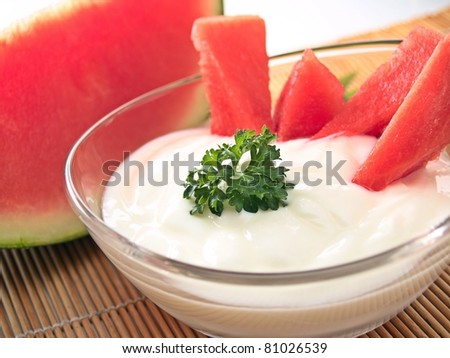 watermelon and yogurt - stock photo