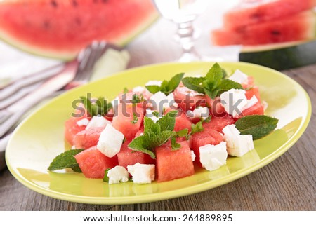 watermelon, cheese and mint