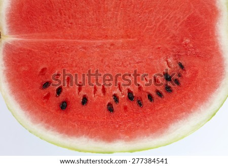 Watermelon Close Up Macro View. Fresh Fruit Texture isolated on white background - stock photo