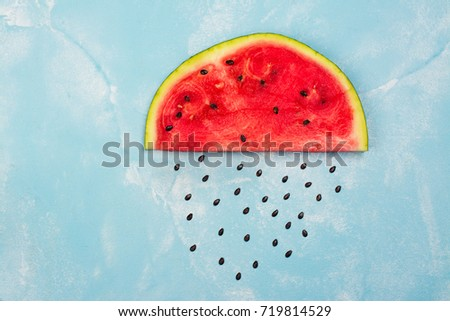 Watermelon Cloud With Rain Drops Made From Seeds. Goodbye Summer Concept.  Space For Text